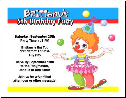 Free Clown Birthday Invitations Ideas