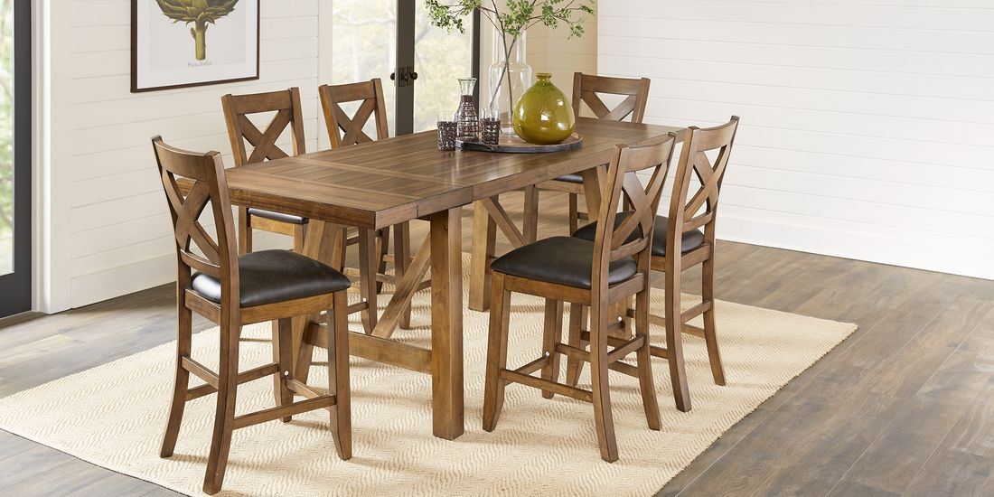 Acorn Cottage Brown 5 Pc Counter Height Dining Room In 2020 Dining Dining Room Pub Table And Chairs