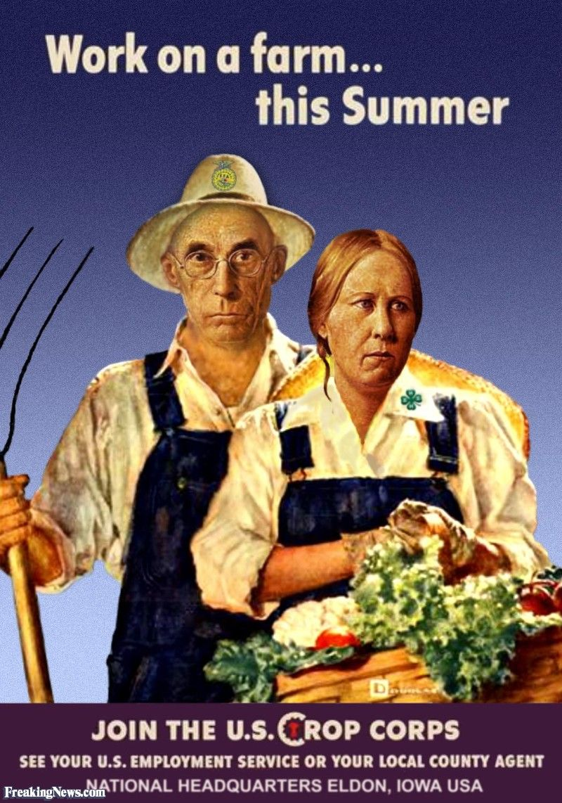 American Gothic Vegetable Farmers