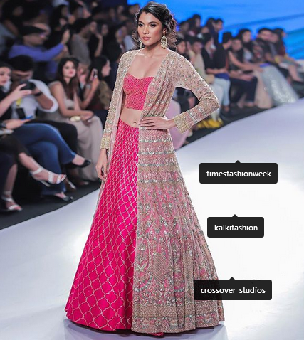 perfect sangeet wear lehenga with organza jacket also has
