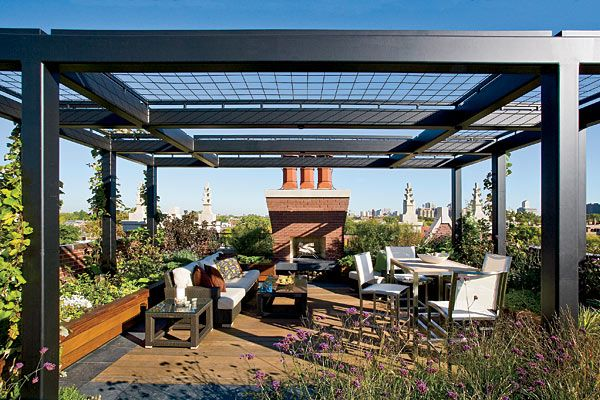 A Rooftop Deck With A French Accent With Images Roof Garden
