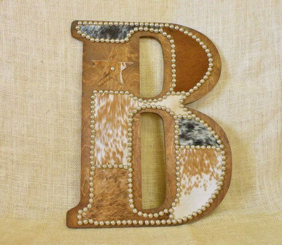 cowhide wall letter b made to order western home decor wall hanging cowboy nursery monogram - Home Decor Wall Hangings