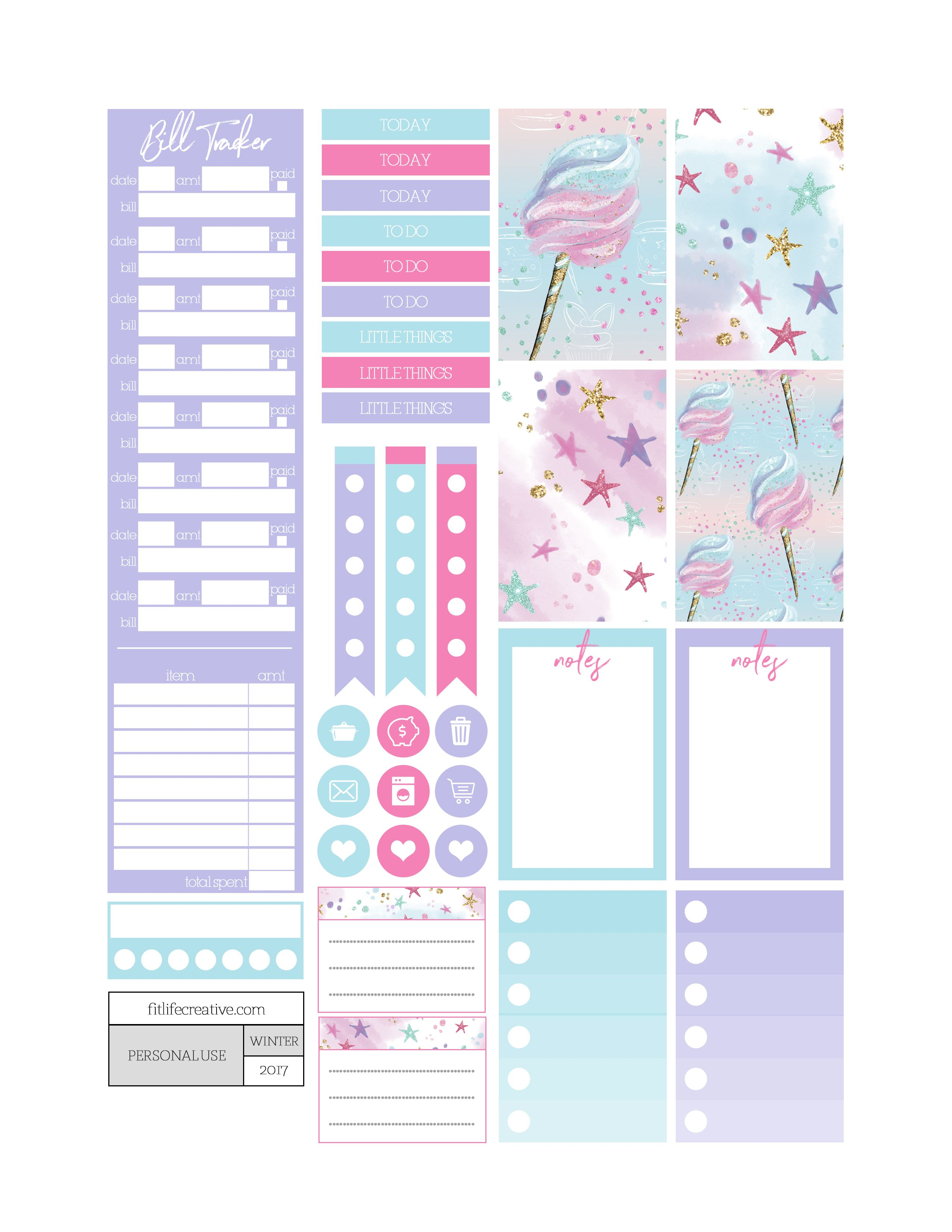 Unicorn candy themed printable planner stickers. Includes free ...