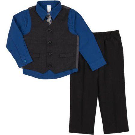 George Infant Toddler Boys 4 Piece Blue Dress Outfit Shirt Vest Tie Slacks