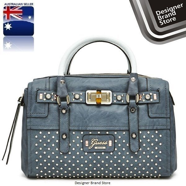 NEW GUESS RIZA MEDIUM SATCHEL BLUE STUDDED LADIES BAG HANDBAG -FREE EXPRESS POST