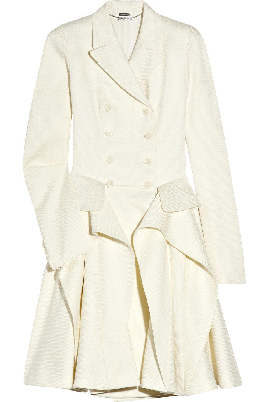 Cotton and wool-blend piqué coat