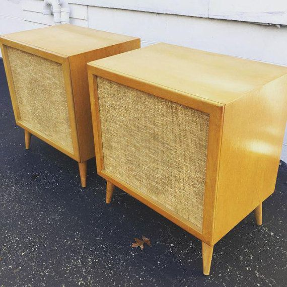 Mid Century Modern Speakers Birch Wood Cabinets. By QueenCityMod