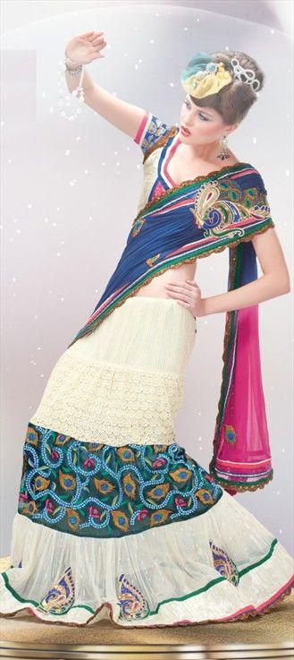 101287 Designer Gaurang Shah shows Mermaid style with Lace elegance.Get this style in lehenga. #summerresort2013 #LFW