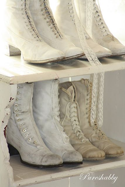 white canvas & leather boots, early 1900s - We've come a long way