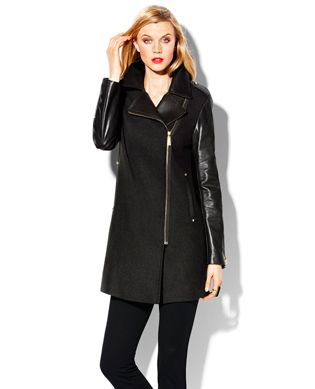 Vince Camuto coat, wool with leather collar and sleeves leather collar and sleeves, asymmetrical zipper. Love this!