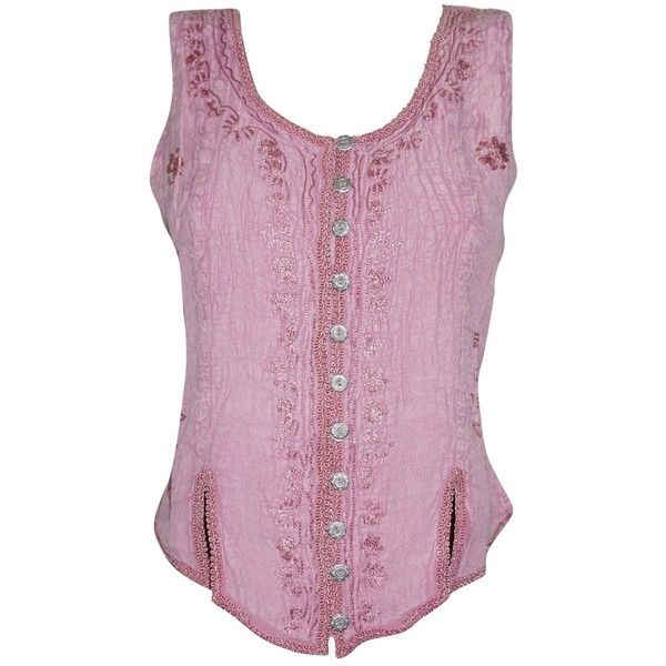 Women's Bohemian Blouse Pink Stonewashed Scoop-Neck Peasant Tank Tops... ($18) ❤ liked on Polyvore featuring tops, pink singlet, pink tops, boho peasant tops, scoop neck top and scoop neck tank