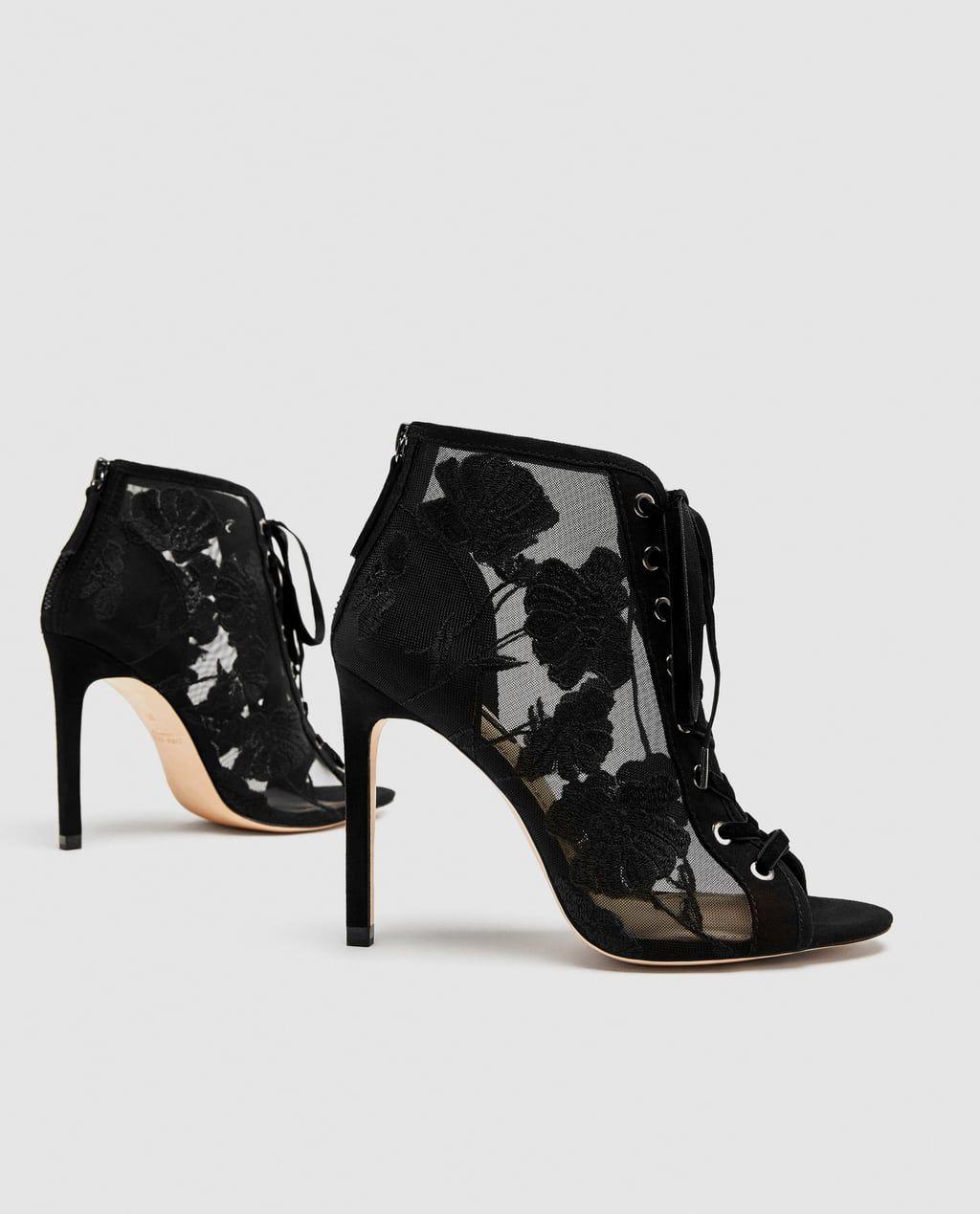 Tacón Zapatos Botín Mujer Zapatos Y Bordados Atado Zara Zapato 0qw7d60