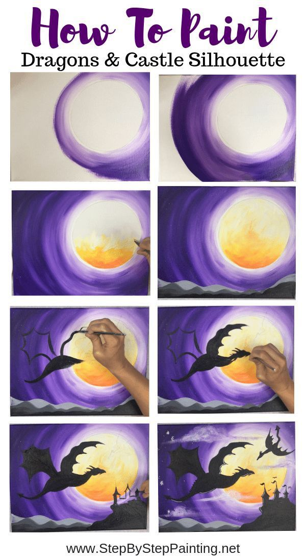 How To Paint Dragons & Castle Silhouette  Step By Step Painting is part of Acrylic painting tutorials, Step by step painting, Simple acrylic paintings, Painting, Watercolor paintings, Canvas painting - How To Paint Dragons & Castle Silhouette  Step By Step Painting
