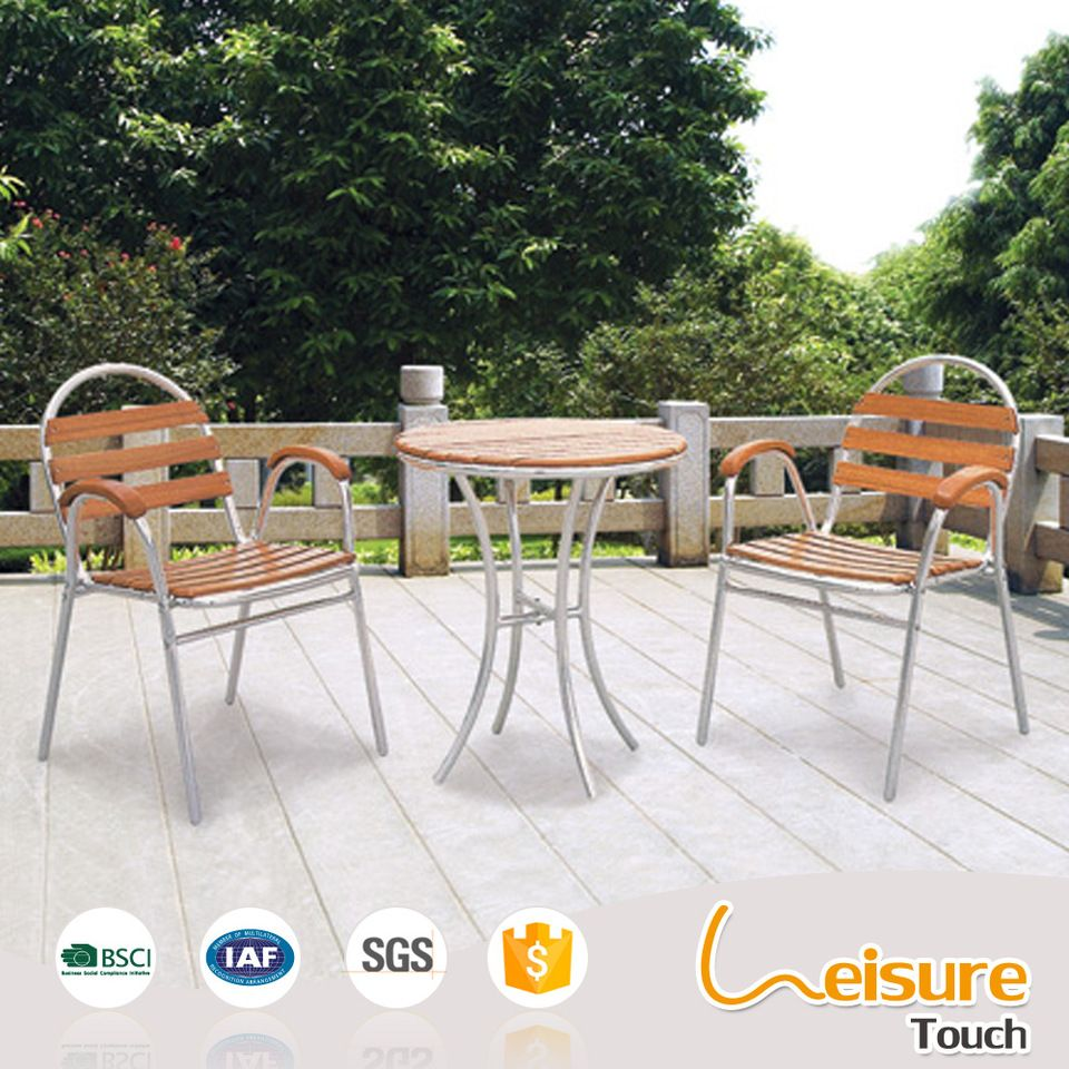 Outdoor Plastic Wood Furniture Dining Set Restaurant Aluminum Chair - Aluminum table and chairs for restaurant
