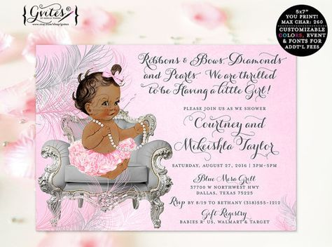 African American Invitation, Ribbons Bows, Diamonds Pearls, Baby Girl,  Silver White And