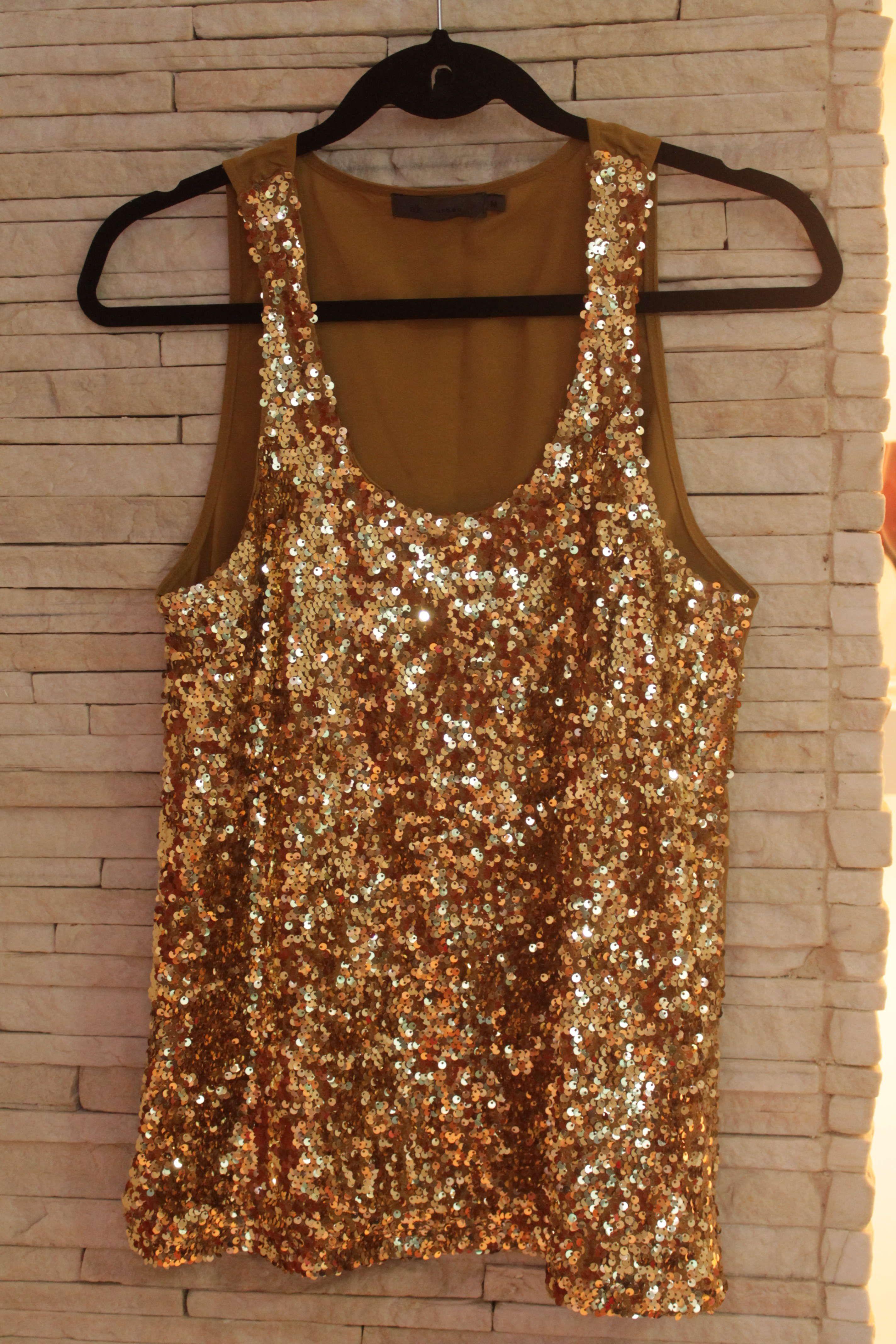 968de0270e Blusa Dourada Paetês