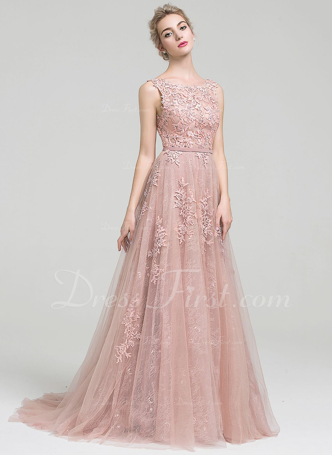 f1a7a8d866ad A-Line/Princess Scoop Neck Court Train Tulle Lace Evening Dress With Beading  (017093495) - DressFirst