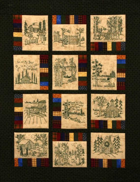 Northwoods Memories Quilt Pattern 12 Redwork Hand Embroidery