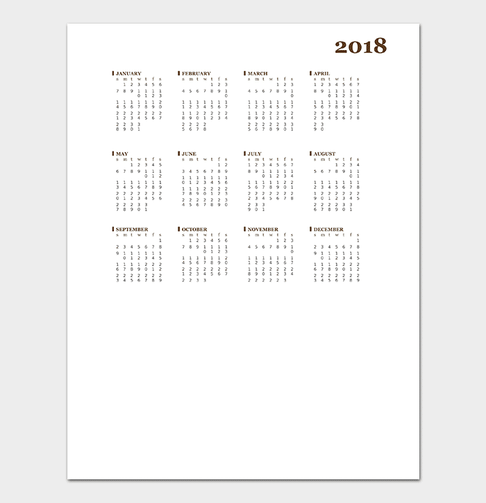 Yearly Calendar Template  Calendar Templates   Printable