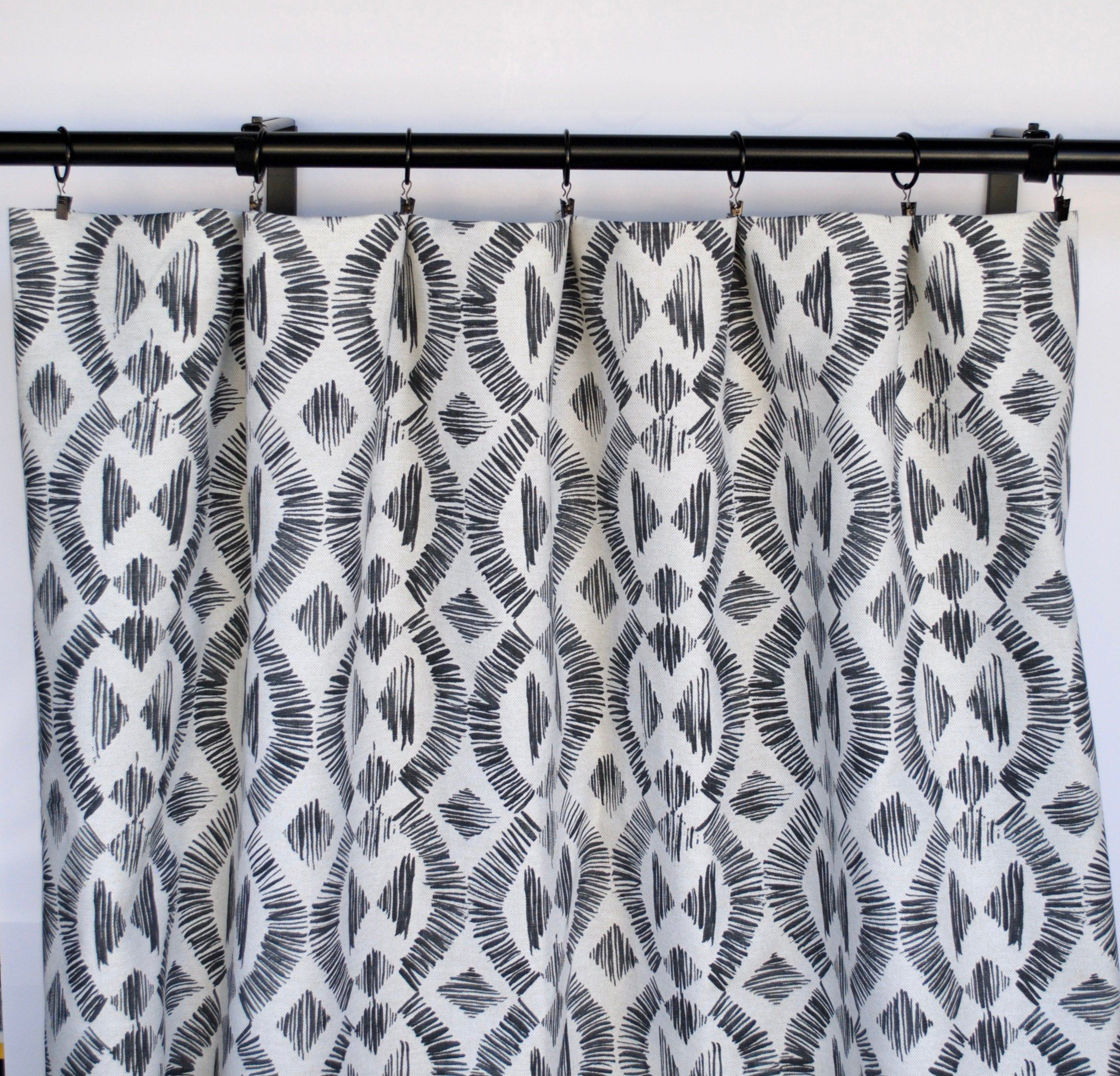 Mud Cloth Curtain Panels Black And White Curtain Panels Etsy