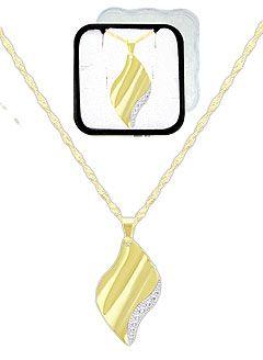 Gargantilha folheada a ouro c/ pingente em chapa ondulada c/ aplique prateado (acompanha caixinha em acrílico)-Clique para maiores detalhes