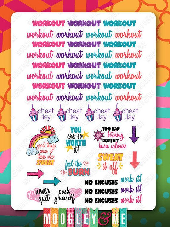 Workout Fitness Exercise Planner Stickers Products Pinterest