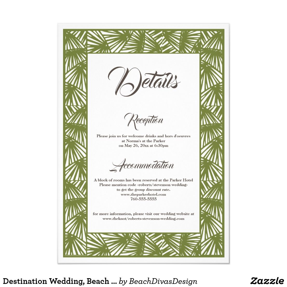 Destination Wedding Beach Wedding Details Card Zazzle Com Wedding Details Card Destination Wedding Beach Wedding