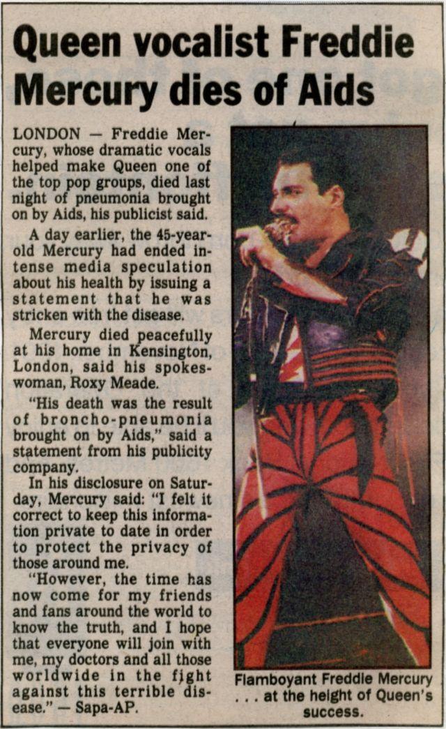 Resultado de imagen de freddie mercury AIDS newspaper
