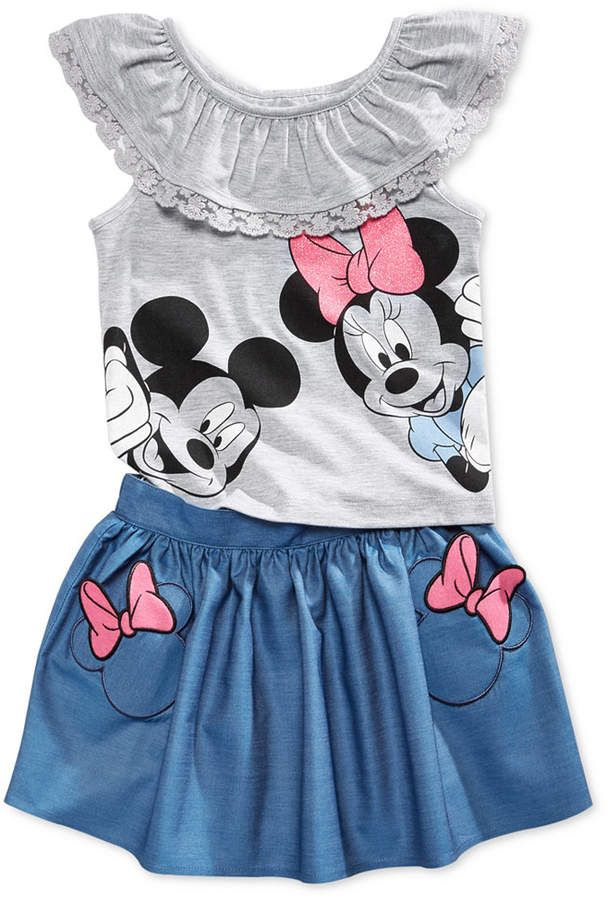 311984341 Disney Bound Outfit for Toddler Girls! Minnie and Mickey Mouse Top & Skirt  Set (affiliate)