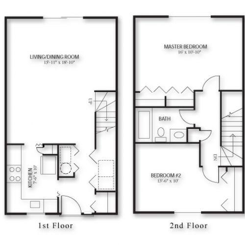 2 Bedroom Townhouse Floor Plan Google Search Buildings