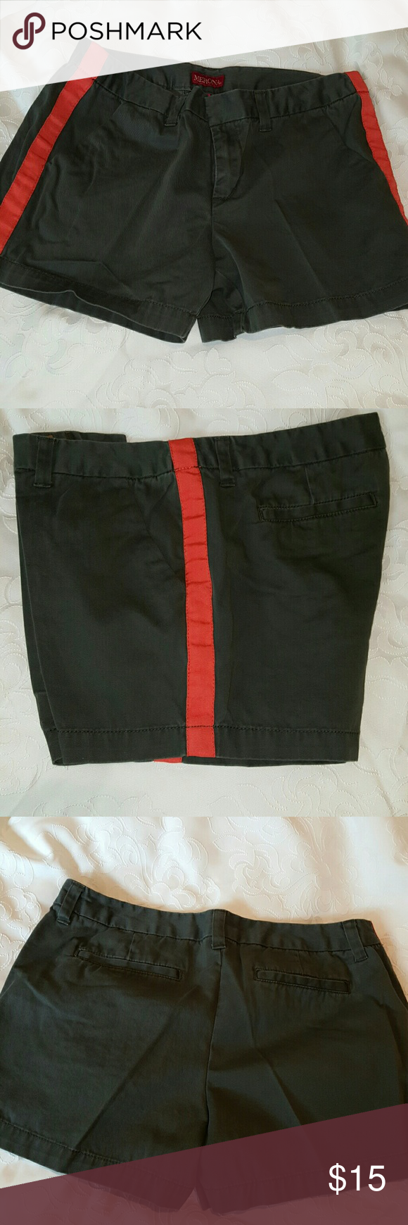 Merona shorts Never worn.   Very unique.  They are khaki and orange. Merona Shorts