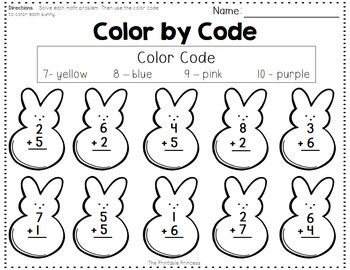 Addition and Subtraction {Color by Code} Spring Freebie
