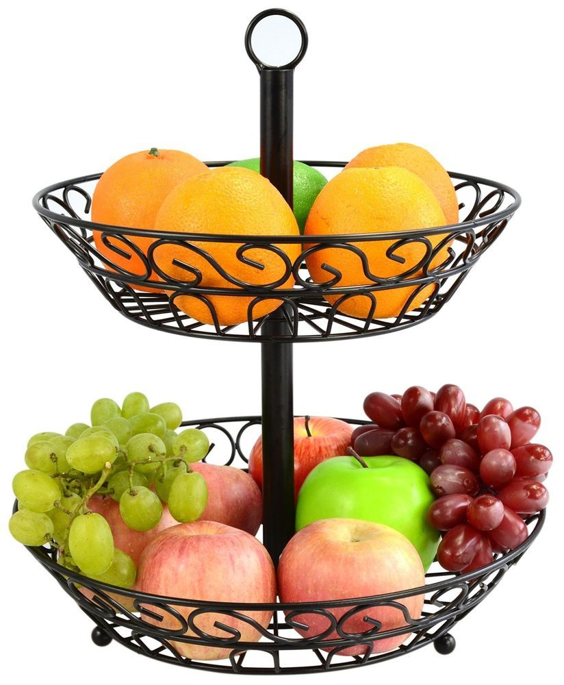 2 Tier Countertop Fruit Food Vegetables Bread Storage Metal Standing Basket Fruitbasket Breadbasket