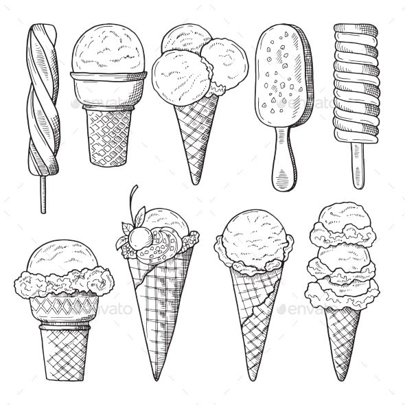 Hand Drawn Illustrations Set of Ice Creams | How to draw hands ...