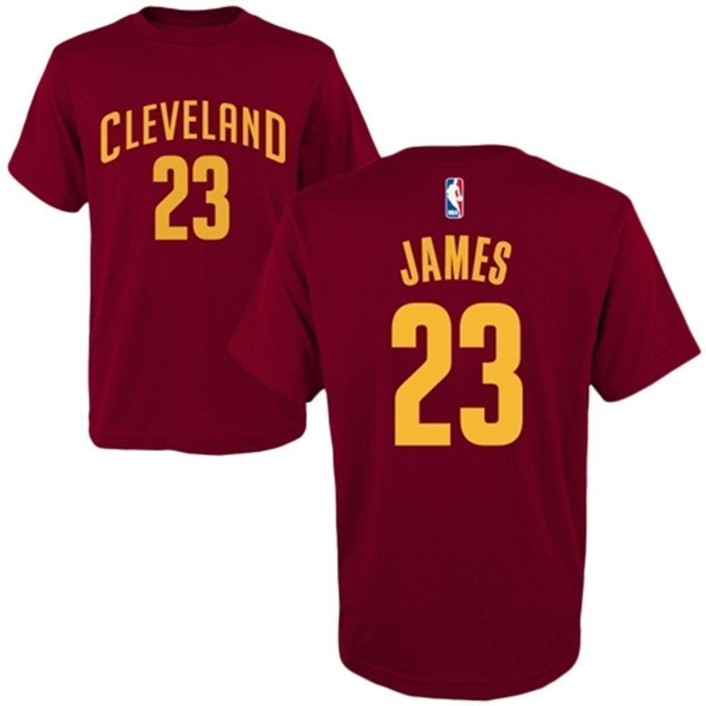 b971778f2 Official Adidas brand Cleveland Cavaliers children's basketball t-shirt in  maroon with yellow screen print with NBA decal at back neckline.