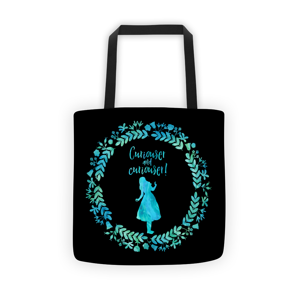 Curiouser And Curiouser Alice In Wonderland Quote Tote Bag Alice And Wonderland Quotes Quote Tote Bag Quote Tote