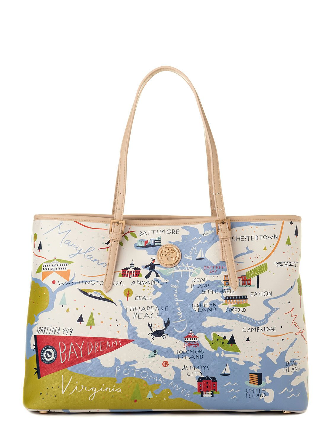 Bay Dreams Tote Oh So Witty Spartina 449 98 00 Map Tote Custom Purses Tote