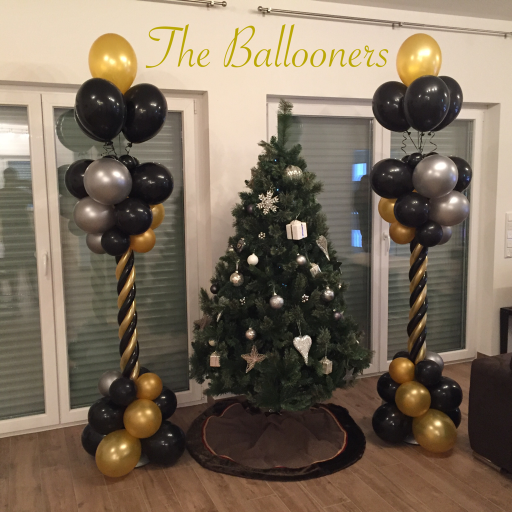 Balloon Columns With Twist Black Gold And Silver Gold Balloons Decorations Black And Gold Balloons Balloons