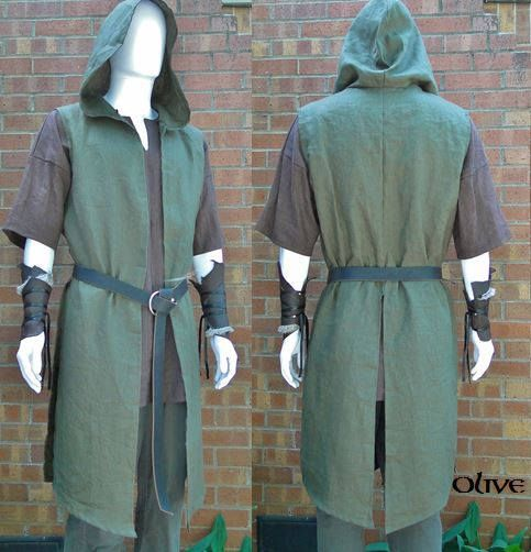 Photo of Hooded Ranger Surcoat, Medieval Assassin Vest – Mens Large One Size, 4 Colors – /P/ (LB)