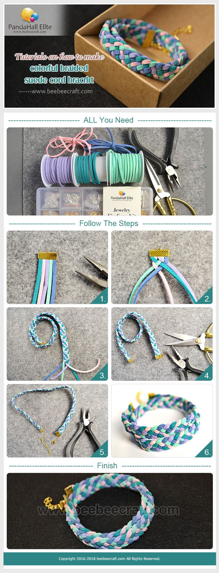 Beebeecraft tutorials on how to make colorful braided suedecord