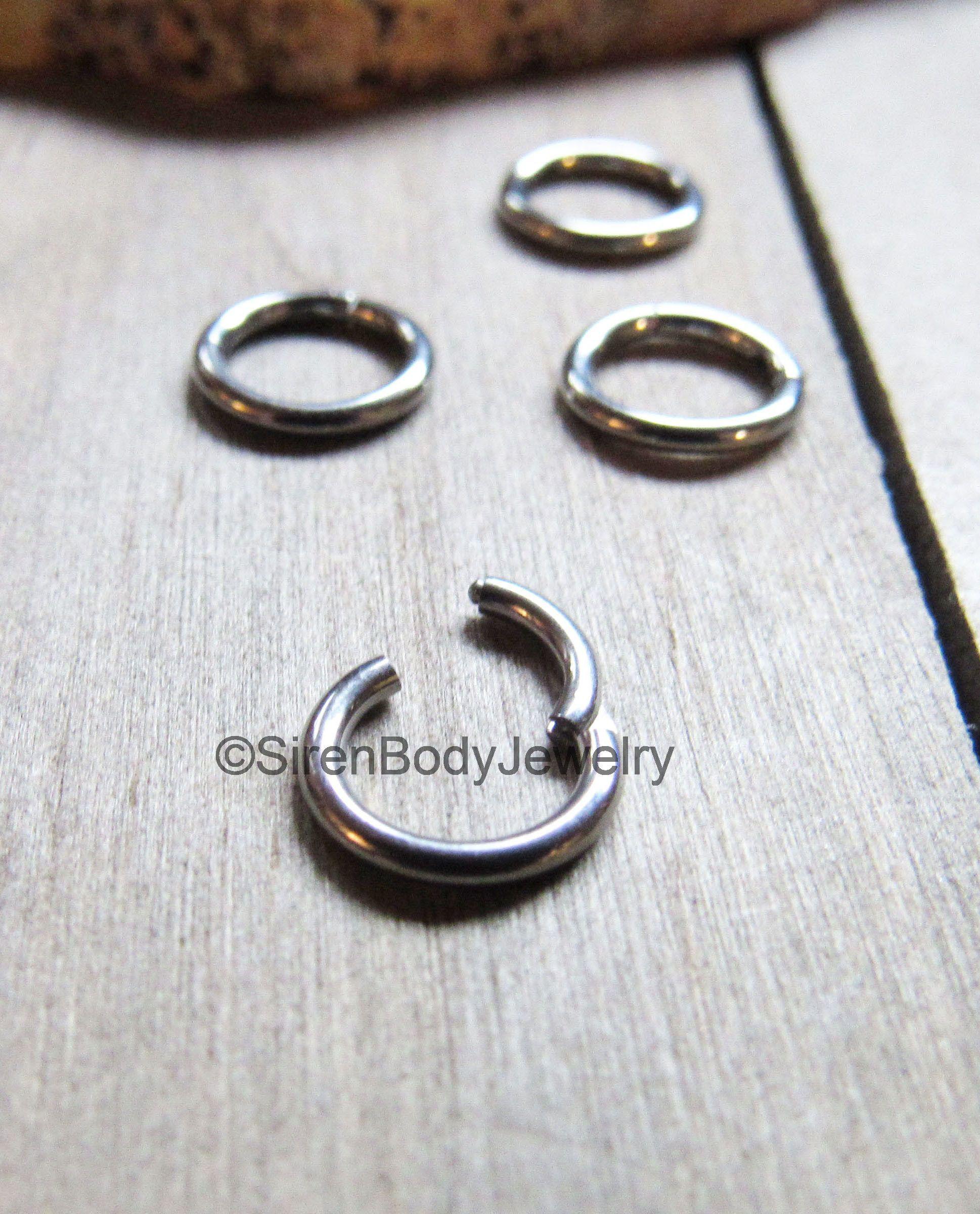 Septum piercing hinged segment ring tiny tragus hoop silver 16g 1 ...