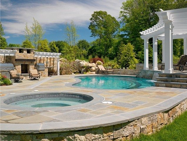 Kidney pool bluestone raised bond beam swimming pool for Raised pool designs