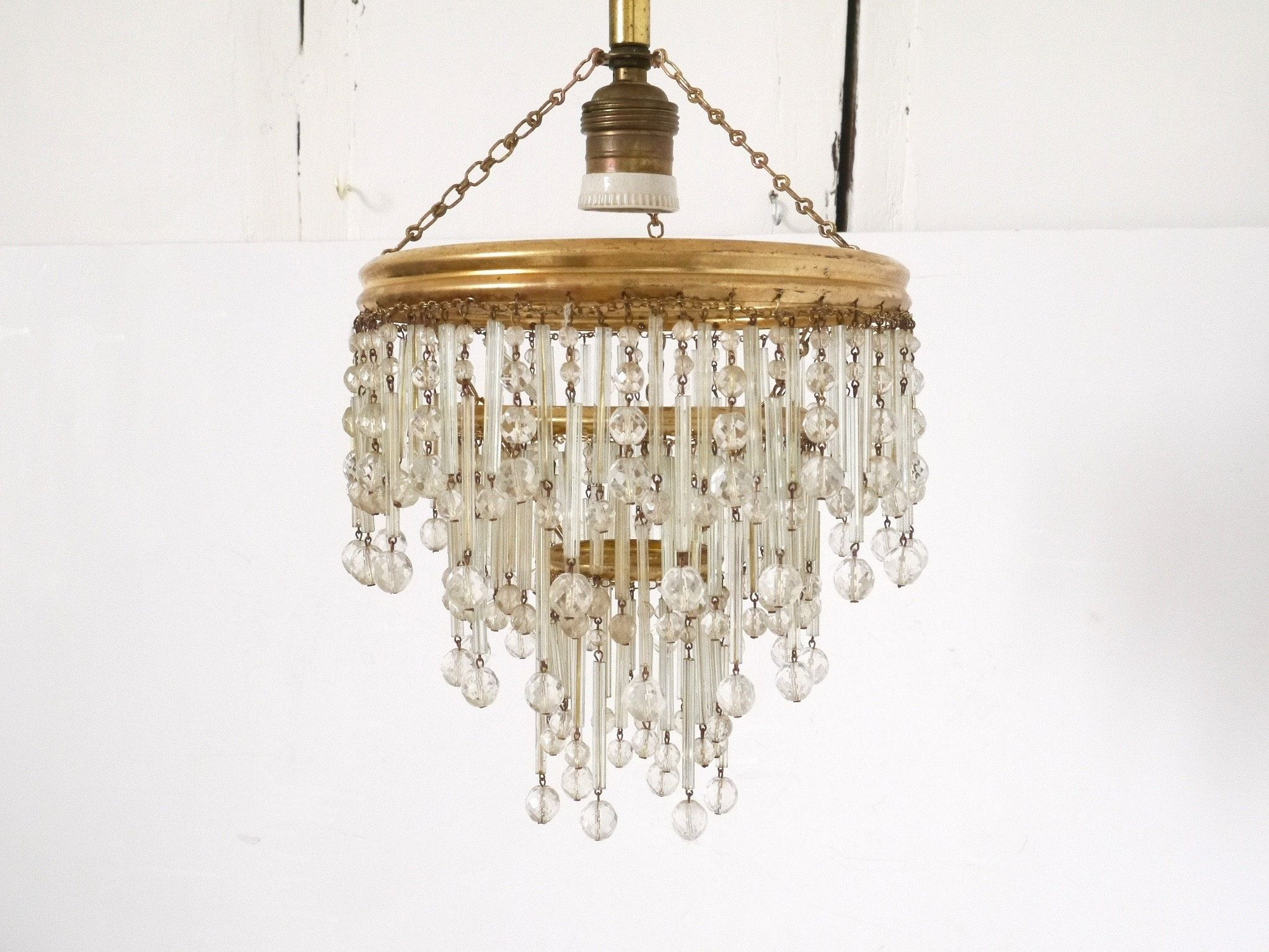 French Vintage Crystal And Brass Chandelier Pendant With Crystal Chains Brass Chandelier Chandelier French Vintage