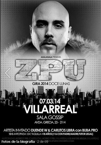 Viernes 7 de marzo, Sala Gossip, Castellon: -Zpu presentando Doce Lunas