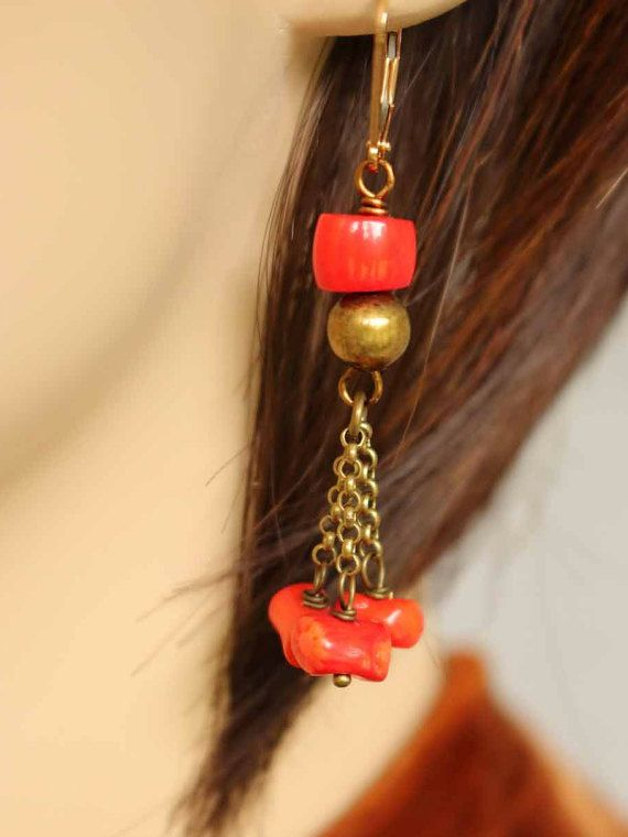 Red coral antique brass chain drop dangle by EstelleLukoffDesigns