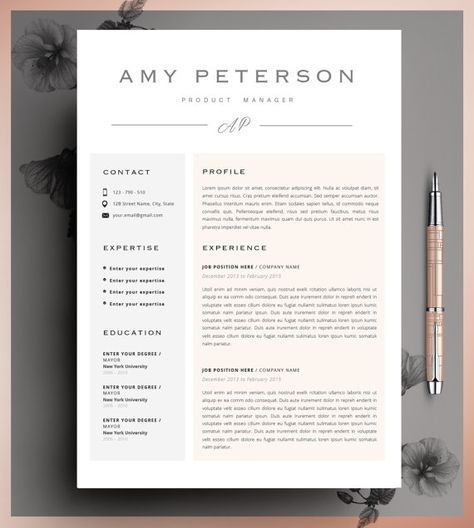Professional CV, Curriculum Vitae, 2 Page Resume, Simple Resume, CV