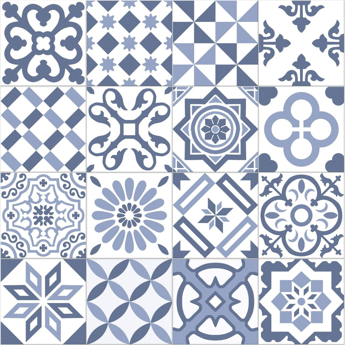 Carrelage imitation ciment bleu et blanc mix 20x20 cm for Carrelage mural blanc 20x20