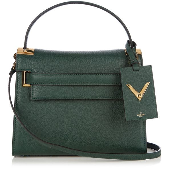Valentino My Rockstud small leather tote ($2,545) ❤ liked on Polyvore featuring bags, handbags, tote bags, dark green, genuine leather tote, genuine leather purse, handbags totes, tote purses and leather purses