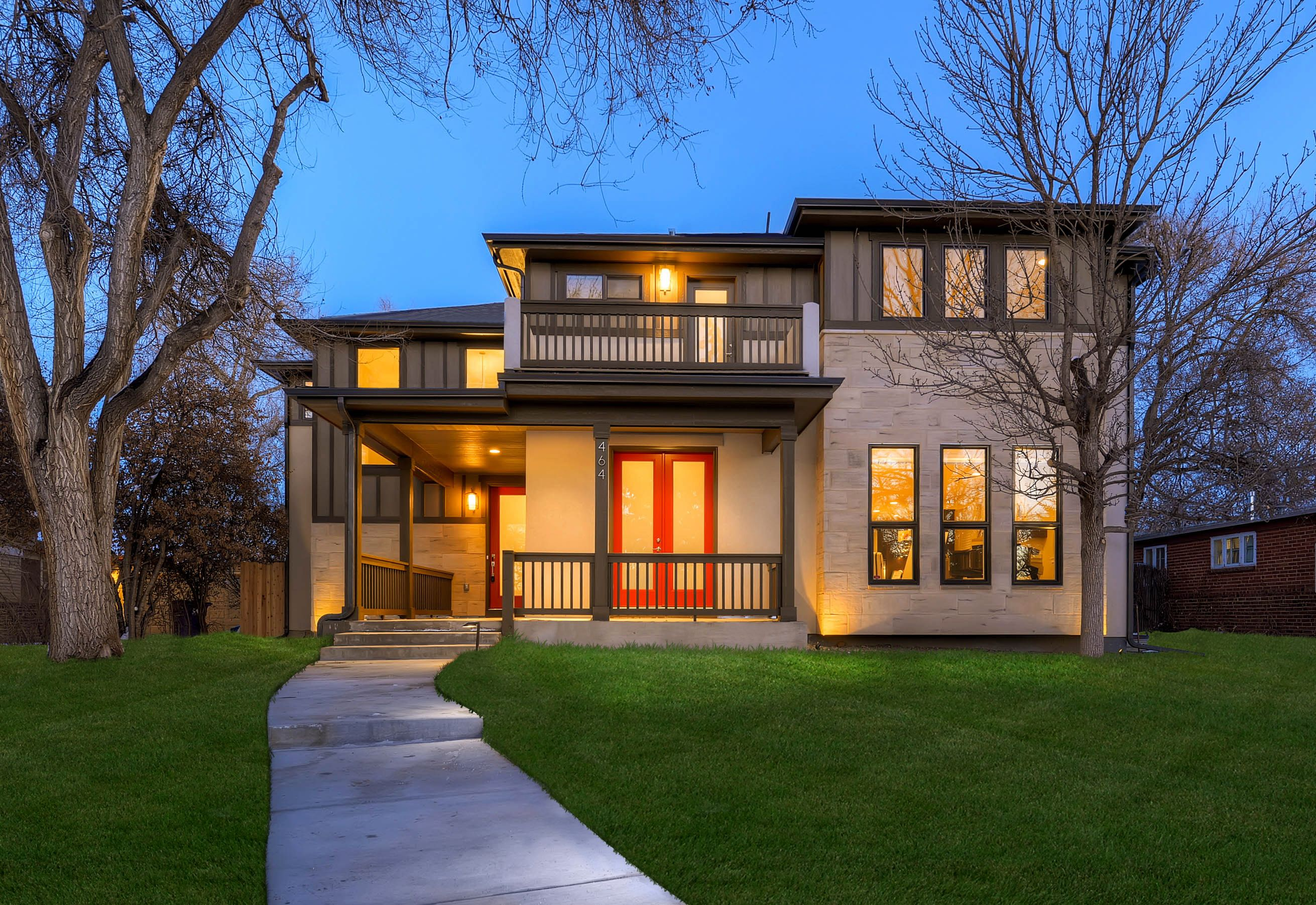 Elegant New Home   Contemporary Denver Bello Custom Home Designed With Red Door  Accent. New Home