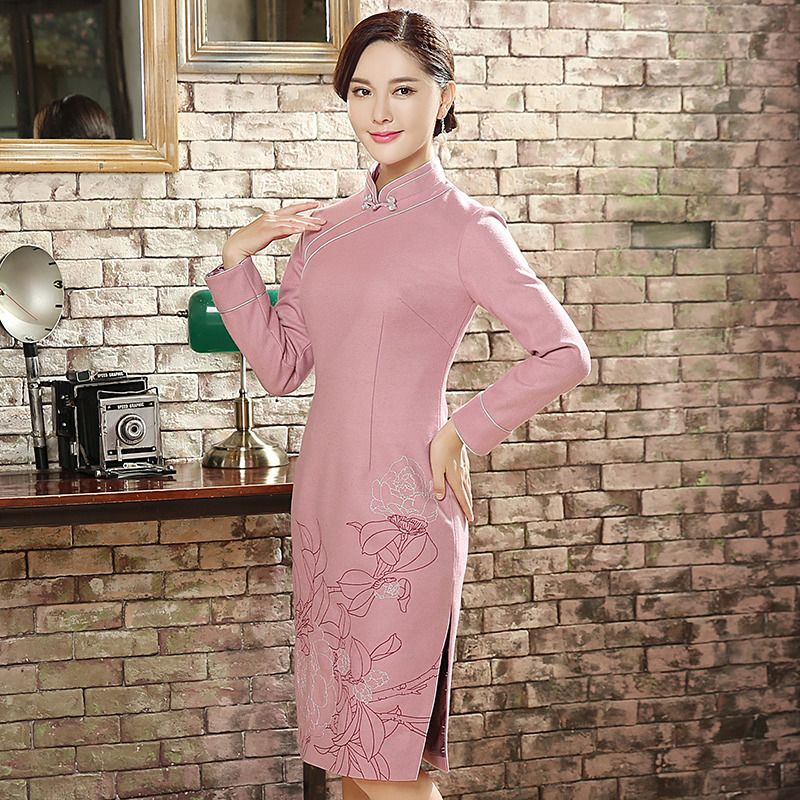 Charming Wool Blend Qipao Cheongsam Dress - Pink - Qipao Cheongsam ...